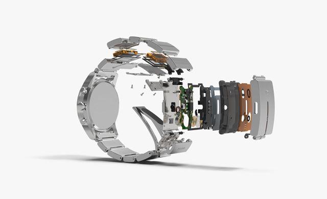 wena wristのバンド部の分解図。独自の特許技術で部品を分散配置している
