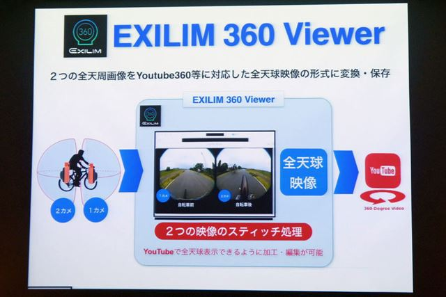 PC用の専用ソフトEXILIM 360 Viewer。YouTube用の全天球映像を作成できる