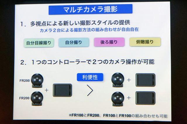 1つのコントローラー部で2つのカメラ部を操作できるマルチカメラ撮影機能を搭載