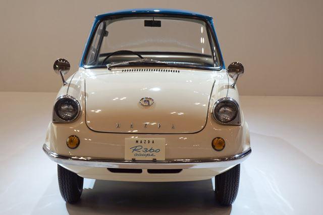 1960年に登場した2人乗りの軽自動車「R360 クーペ」。前後のガラスが広くとてもキュートなデザインだ