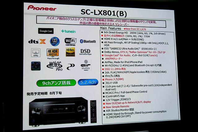 「SC-LX801」の主な仕様