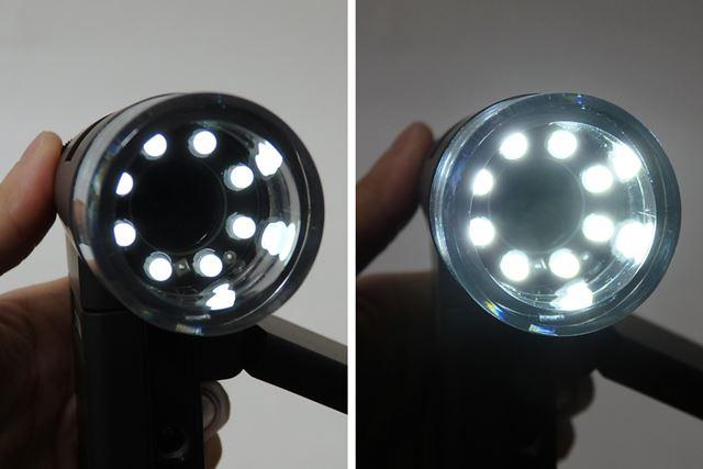 暗所や接写撮影などで明るく撮影できるように、レンズのまわりに8灯のLEDを搭載