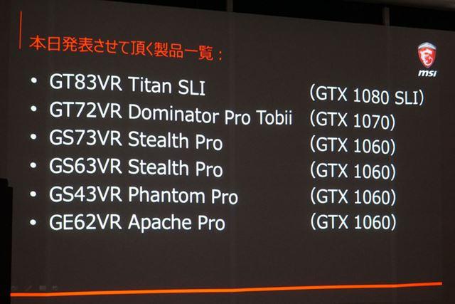 今回発表された全製品は、モバイル版GeForce GTX 10シリーズを搭載