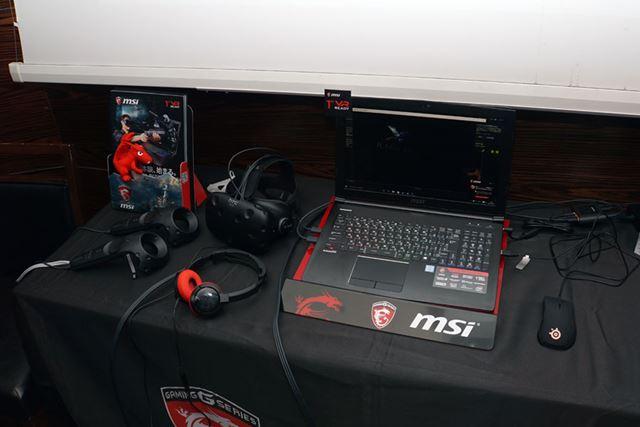 """全機種""""VR READY""""ということで、発表会場にはHTC Viveと組み合わせたデモ機も用意されていた"""