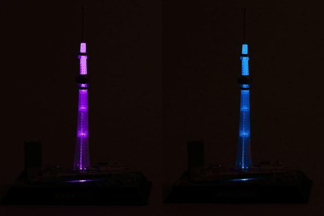 暗いところでは、このような感じに光ります。左が「雅風」右が「粋風」です