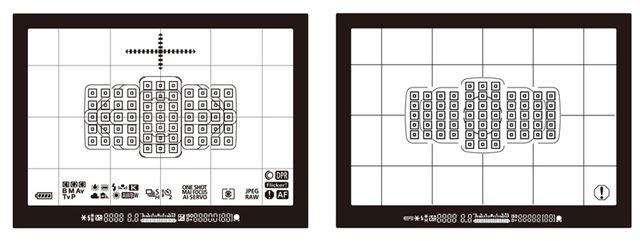 左がEOS 5D Mark IV、右がEOS 5D Mark IIIのファインダー内表示