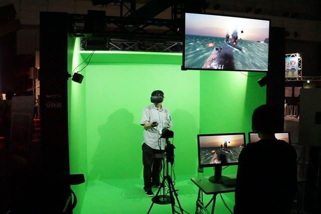 グリーンバックを使い、体験者の観ている内容をモニターで表示。3Dモデリングがかなり精細だ