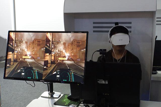 シューティングゲームでは、眼の動きをとらえ、敵を見るだけでターゲットカーソルを合わせられる