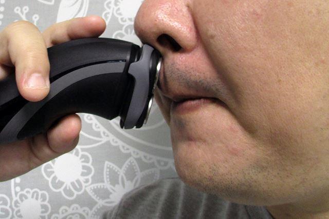 ヘッドが大きい分、鼻の下などの細かい部分は剃りにくい