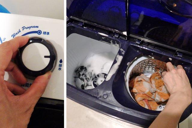 洗濯終了後、排水してから洗濯物を脱水槽に移します