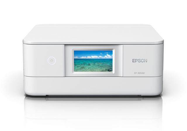 「カラリオ EP-881A」。カラーは、ホワイト、ブラック、レッド、ニュートラルベージュの4色展開