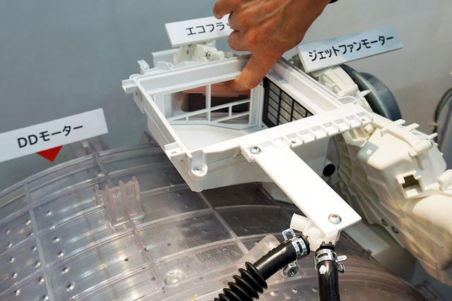 開閉式の吸気口(エコフラップ)の開く角度を変えることで、ドラム槽内の湿度を調整