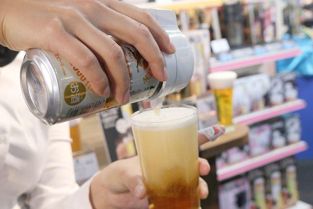 ビールと泡を別々に注げるので、ビールの黄金比「7(ビール):3(泡)」も簡単