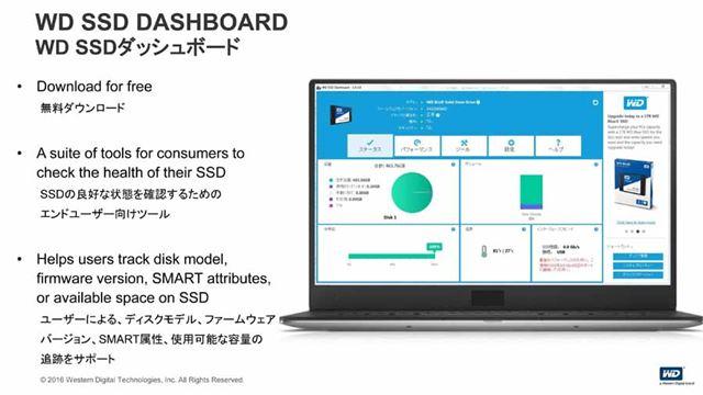「WD SSD ダッシュボード」の画面