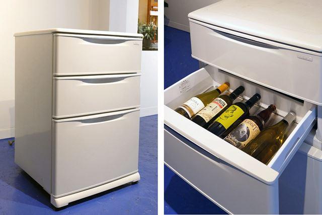引き出しがあって、まるでオフィスの袖机のようなフォルム! 冷蔵庫に見えないのが最大の特徴