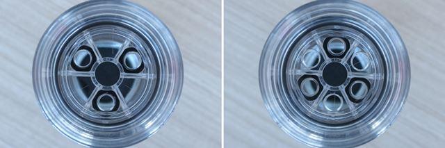 弁を開けた状態(左)と、閉じた状態(右)