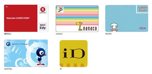 楽天Edy、nanaco、WAON、QUICPay、iDなど電子マネーサービスいろいろ(ソニー公式サイトより)