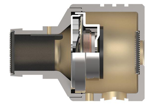 本体内部のデュアル防振システム。振動板を境にノズル側と背面側に内部空間が仕切られている