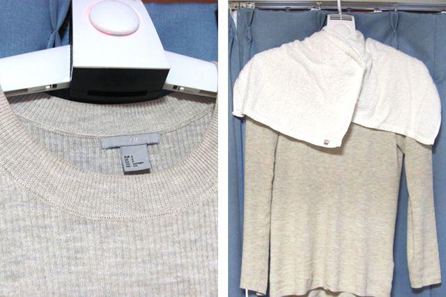 襟元のあいた服は温風が漏れやすいので、タオルなどを巻いて工夫してみました
