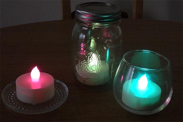 ガラスに載せたり、瓶やグラスに入れて点灯。部屋の雰囲気やイベントに合わせてオリジナルのインテリアにも