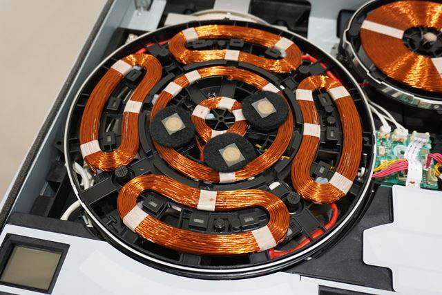 IHコイルが5つに分割された「びっくリング」は、必要な部分のコイルにだけ通電させられます