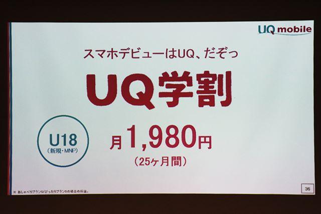 UQ mobileの学割は、大手キャリアよりも1,000円安い月額1,980円から