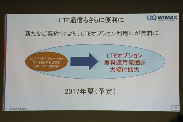 詳細は明らかにされなかったが、LTEオプション利用料を無料にする施策を予定している