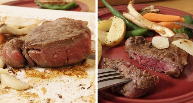 ナイフでカットすると、肉汁がじわりとあふれました。かなり高評価の焼き上がりだと言えるでしょう