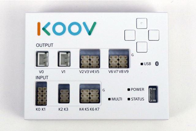各種電子パーツをつなぎ、ロボットを制御するのに使用するKOOVコア