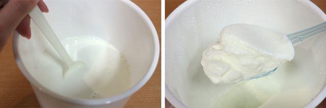 ヨーグルトと牛乳を混ぜ合わせて本体にセットし、40℃で5時間(牛乳500mlの場合)発酵させれば完成