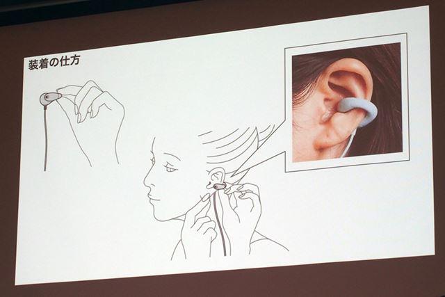 ambie sound earcuffsは、イヤーカフのように耳に挟んで装着する