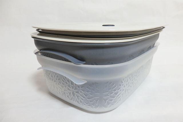 容器の部分はスタッキングができるので、使わないときに外に出しておいてもかさばらないのもGOOD!