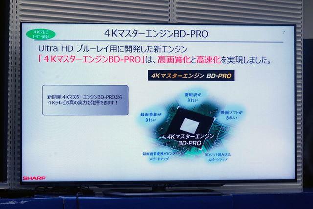 新規開発の「4KマスターエンジンBD-PRO」を搭載