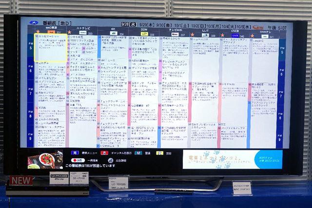 番組表は5/8/11/14/17ch表示の5種類から選択できる