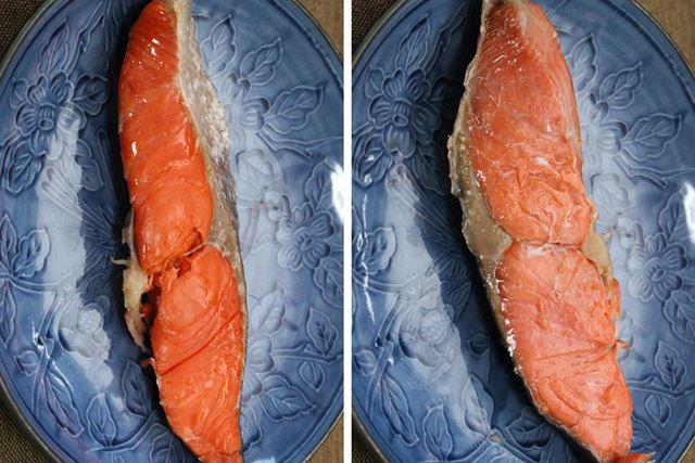 鮭は1度も裏返しませんでしたが、表面(左)も裏面(右)もちゃんと焼けました