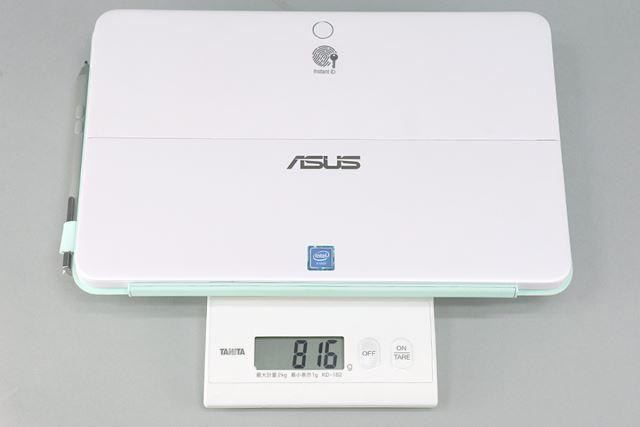 タブレット、キーボードカバー、ペンの総重量は実測で816gだった