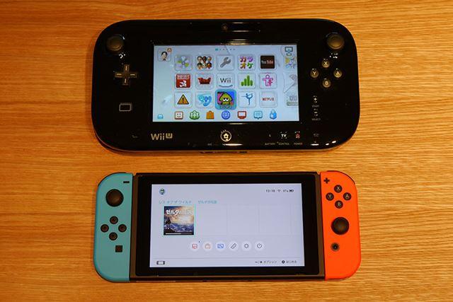 上がWii Uの液晶画面付きコントローラー「Wii U GamePad」、下がNintendo Switch本体
