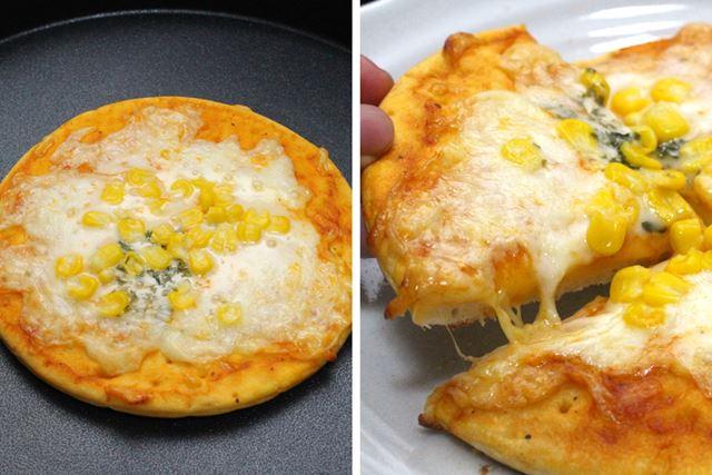 この通り、上下ダブル加熱のおかげでピザもこんがり! 上に乗ったチーズがとろ〜りおいしく仕上がります