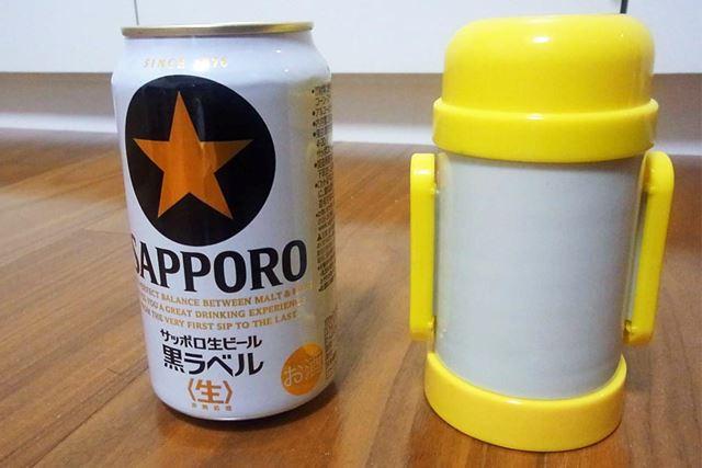ちなみに、大きさは350mlの缶ビールとほぼ同じ大きさ
