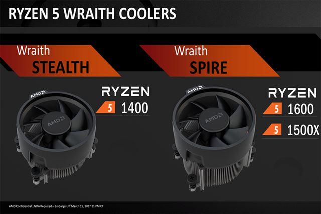 最上位モデル「Ryzen 5 1600X」を除く3モデルには、リテールのCPUクーラーが付属