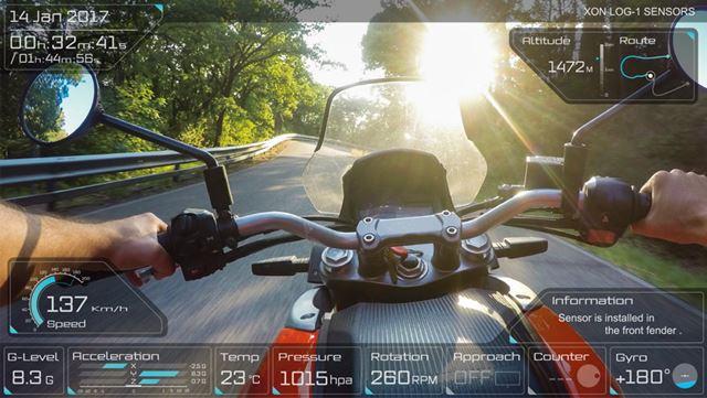 記録された速度などのデータはこの写真のように、動画上にオーバーレイ表示される
