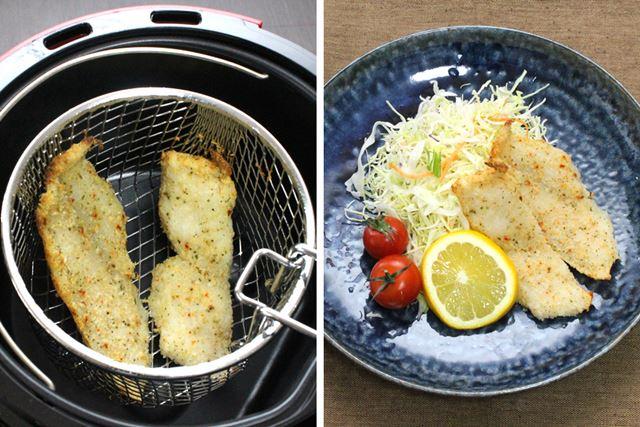 白身魚の香味焼きも、パン粉の表面にオリーブオイルを塗ってから調理開始。切り身が2きれ調理できます