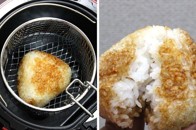 おにぎりに醤油を塗って調理すれば、焼きおにぎりもホクホクに香ばしく完成